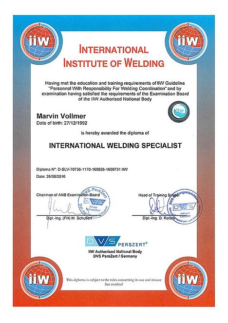 Marvin Vollmer: International Welding Specialist